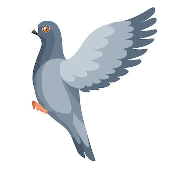 Taubenvogel fliegt, taube schlägt mit den flügeln. flaches cartoon-charakter-design. bunte vogelikone. nette taubenschablone. illustration lokalisiert auf weißem hintergrund.