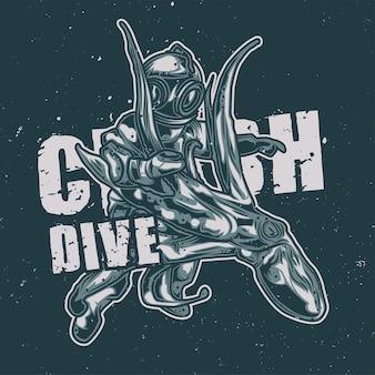 Taucher, der mit einer krakenillustration kämpft