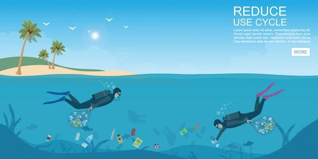 Taucher, der plastikmüll vom ozean reinigt.