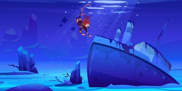 Taucher erkunden versunkenes schiff auf dem meeresboden. frau, die über wrackdampferschiff mit rohren in der unterwasserwelt schwimmt