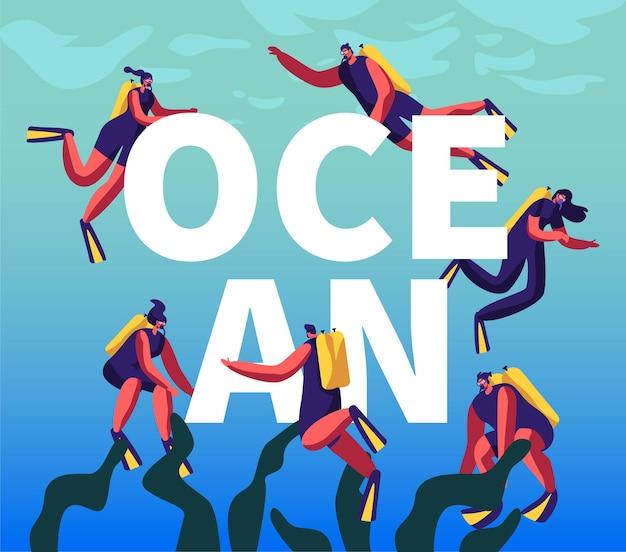 Taucher im ozeankonzept. schnorcheln männliche und weibliche charaktere unterwasser spaß aktivitäten, hobby, schwimmen, tauchen, ausrüstung