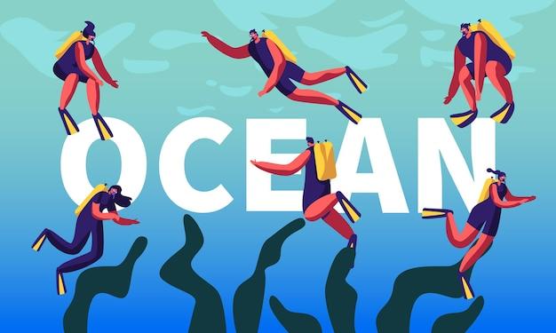 Taucher im ozeankonzept. schnorcheln männlicher und weiblicher charaktere unterwasser-spaßaktivitäten