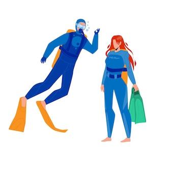Taucher mann und frau zusammengehörigkeit vektor. scuba diver junge und mädchen tragen badeanzug, gesichtsmaske, flossen und aqualung ausrüstung. charaktere flache cartoon-illustration