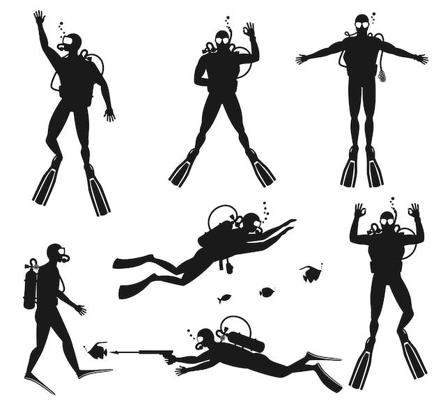 Taucher silhouetten. tauchschattenbilder auf weiß