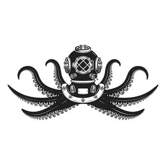 Taucherhelm mit oktopus-tentakeln