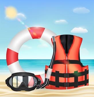 Tauchermaske sicherheitsweste sicherheit torus am strand