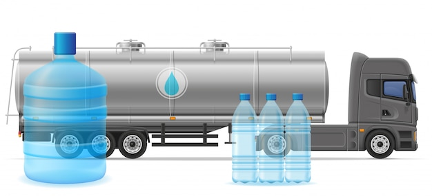 Tauschen sie halb anhängerlieferung und transport der gereinigten trinkwasserkonzept-vektorillustration Premium Vektoren