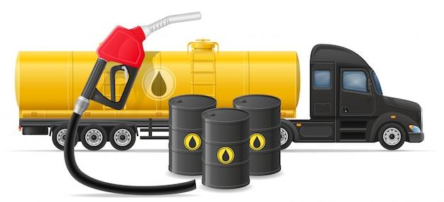 Tauschen sie halb anhängerlieferung und transport des brennstoffs für transportkonzept-vektorillustration