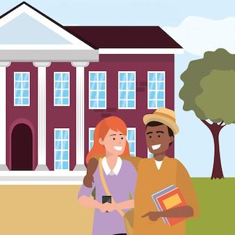 Tausendjährige studentenpaare auf dem campus illustration