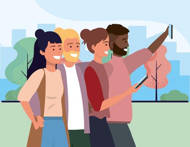 Tausendjährige verschiedene gruppe, die selfie stadtbild nimmt