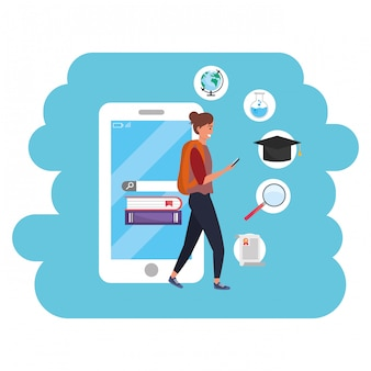 Tausendjähriger student der online-bildung, der smartphone verwendet