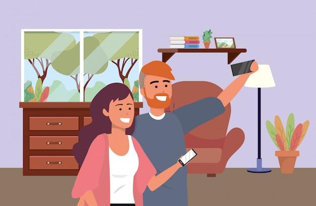 Tausendjähriges paar date selfie