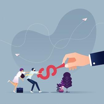 Tauziehen business-team zog das dollarzeichen von der großen hand