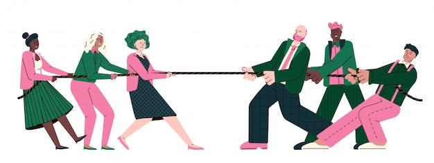 Tauziehen - cartoon-büro-leute, die an einem seil ziehen. rivalisierende business-teams