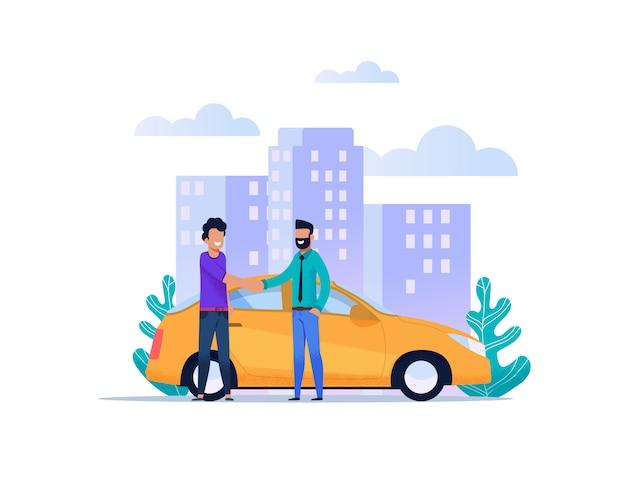 Taxi-abholservice der gelben stadt. moderne wohnung