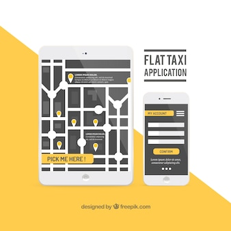 Taxi-anwendung in flachen design