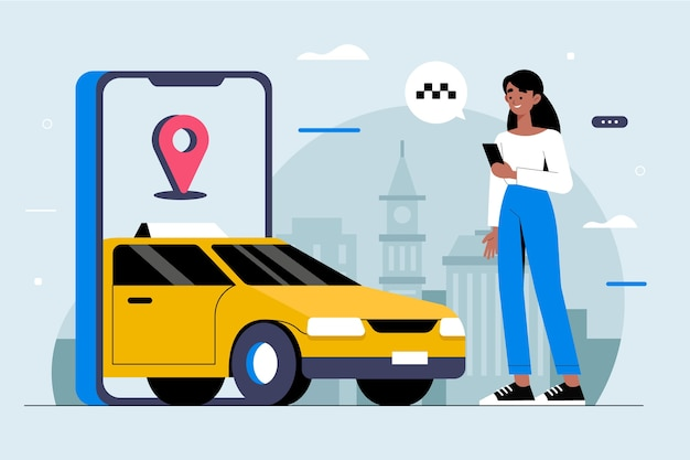 Taxi app konzept illustration