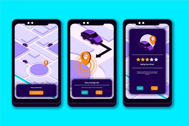 Taxi app-oberfläche