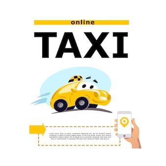 Taxi auto illustration auf weißem hintergrund. cartoon-stil. lustiges niedliches fahrendes auto. taxi service logo vorlage.