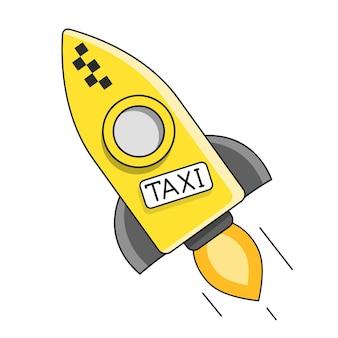 Taxi auto. vektor-flache illustration lokalisiert auf weißem hintergrund. handgezeichnetes gestaltungselement für etiketten und poster