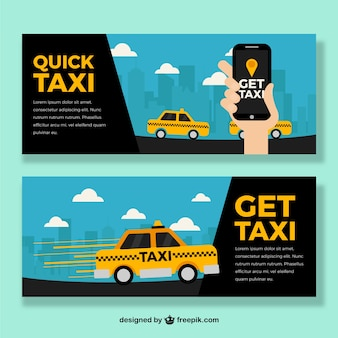 Taxi banner mit app