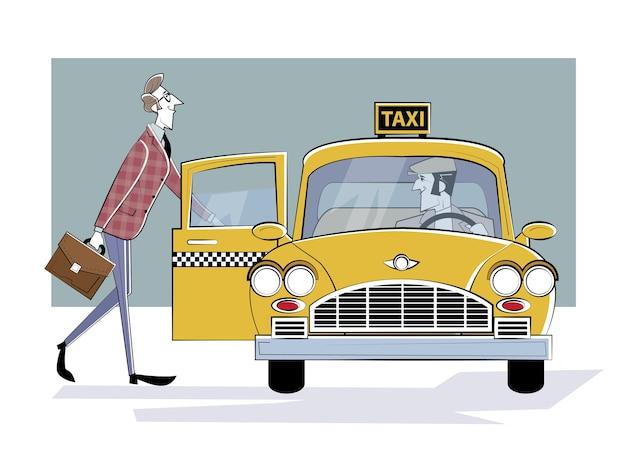 Taxi bestellen. mann steigt in ein retro-taxi. geschäftsmann eilt zum treffen.