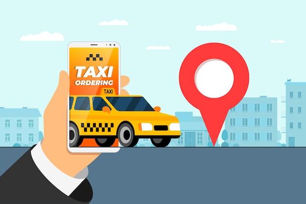 Taxi-bestellservice-app-konzept-hand, die smartphone mit geotag-gps-standort-pin-ankunft hält