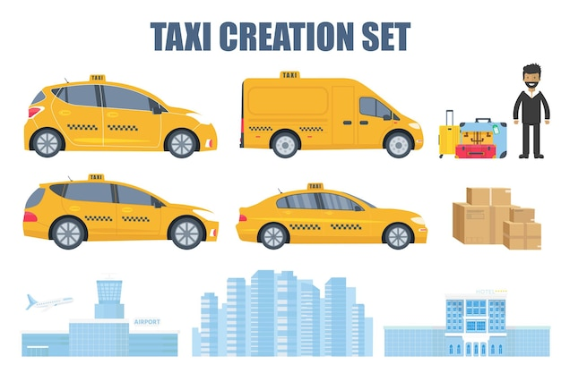 Taxi-erstellungsset mit verschiedenen maschinentypen, gelbes taxi, fahrer, gepäck, paket, gebäude von flughafen, stadt und hotel. flache vektorillustration lokalisiert auf weißem hintergrund.