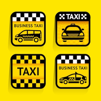 Taxi - gesetztes aufkleberquadrat auf dem gelben hintergrund