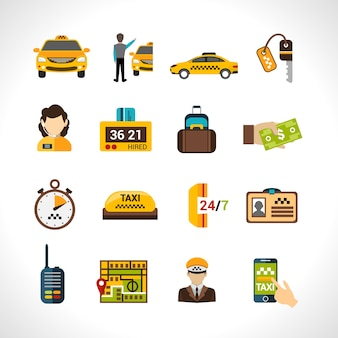 Taxi icons set