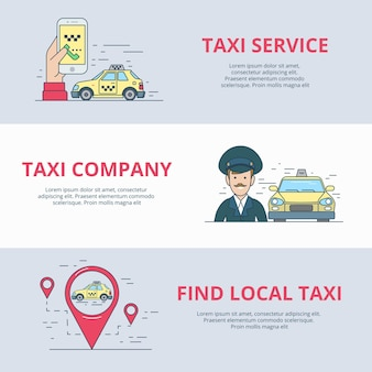 Taxi mobile service suche fahrer mobile app anwendung symbol linear flat style website vektor