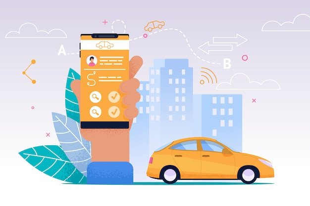 Taxi mobiler service. smartphone flat-anwendung.