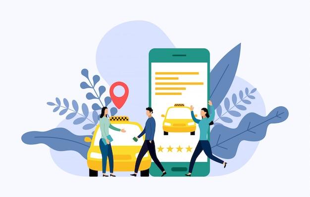 Taxi, mobiler stadttransport, geschäftskonzept
