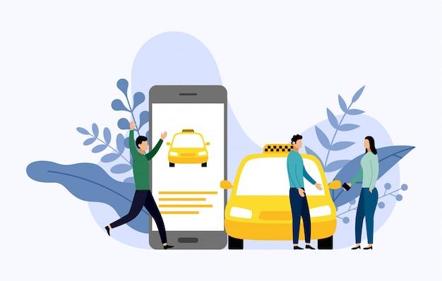 Taxi, mobiler stadtverkehr
