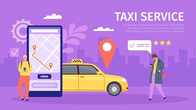 Taxi-online-service. junger mann und frau bestellen taxi per smartphone. großes telefon mit karte und standort. mobile app für buchtaxi-vektorkonzept. route auf dem handybildschirm, bewertung der fahrt oder fahrt