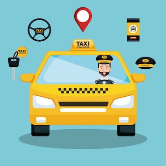 Taxi-service-fahrer-auto-app intelligente transport reisen