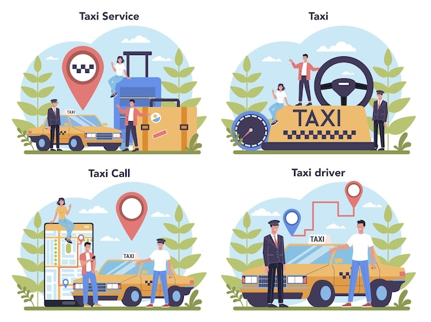 Taxi service konzept eingestellt. gelbes taxi. autokabine mit fahrer im inneren. idee des öffentlichen stadtverkehrs.