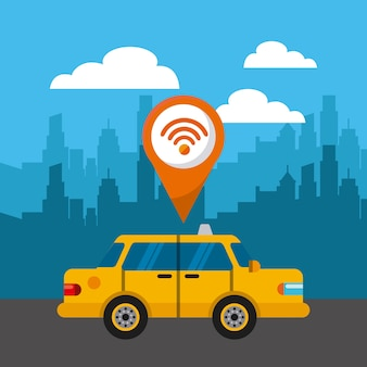 Taxi-service öffentlichen symbol