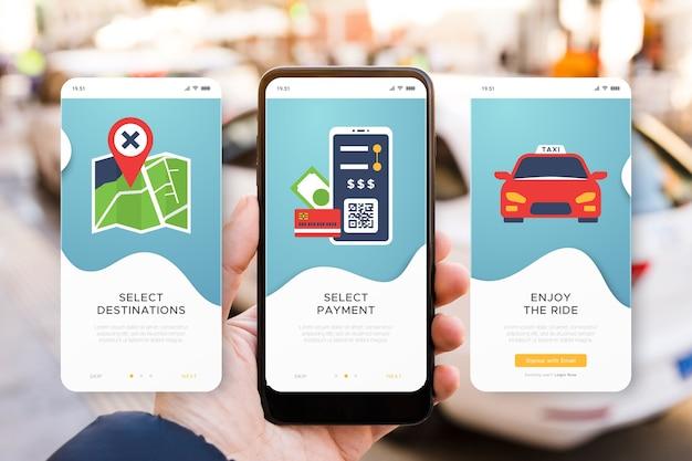 Taxi service onboarding app bildschirme