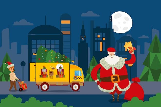Taxi-set, santa verwendet den lkw, um geschenke zu machen illustration lieferarbeiter nimmt kisten auf schubkarre aus anhänger