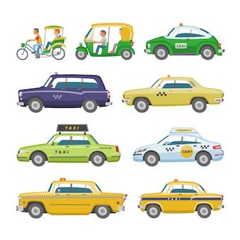Taxi taxitransport und gelbe autotransportillustrationssatz des stadtkabinenautos auf taxistand und taxifahrer im automobil auf weißem hintergrund