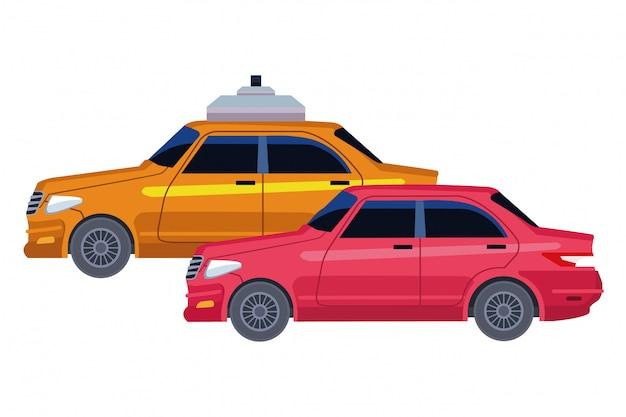 Taxi- und fahrzeugikonenkarikatur