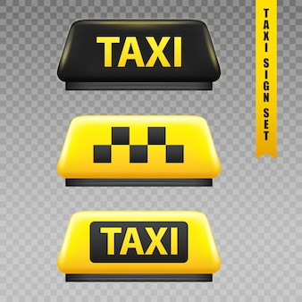 Taxi zeichen transparent set