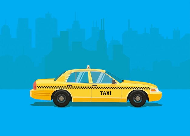 Taxiauto, flaches angeredetes seitenansichtgelbfahrerhaus