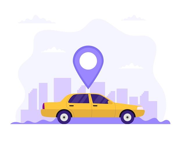 Taxiauto mit standortsymbol