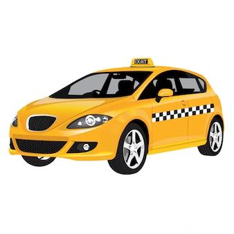Taxiauto-vektorillustration lokalisiert auf weißem hintergrund voll editierbar
