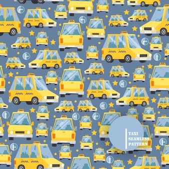 Taxiautoikonen im nahtlosen muster, illustration. gelbes fahrerhaus in der karikaturart, viele fahrzeuge in den verschiedenen winkeln, taxiservice-hintergrund.