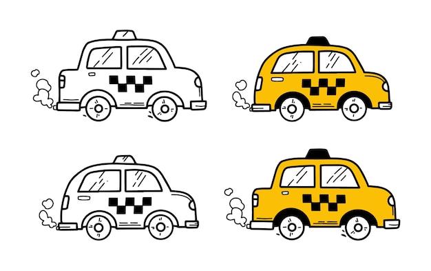 Taxiautos im gekritzelhandzeichnungsstil