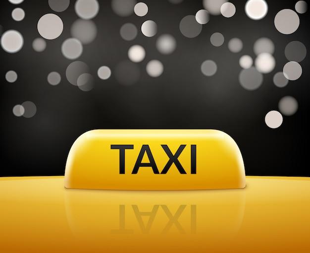 Taxiautozeichen auf bokeh hintergrund. taxi schild und dachwagen. transport service abbildung.