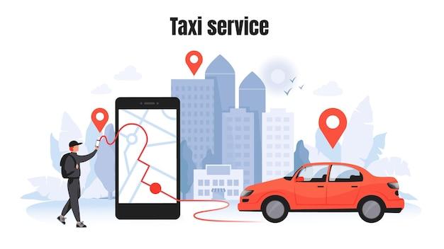 Taxibestellung. autovermietung und sharing-konzept mit zeichentrickfigur, mobiles anwendungsmodell m